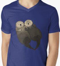 Bedeutende Otter - Otter, die Hände halten T-Shirt mit V-Ausschnitt