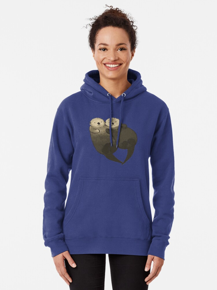 Alternate view of Significant Otters - Otters Holding Hands Pullover Hoodie