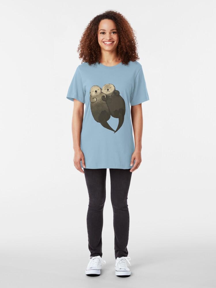 Alternative Ansicht von Bedeutende Otter - Otter, die Hände halten Slim Fit T-Shirt