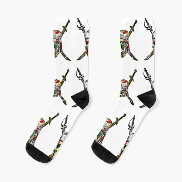Canal flowers pirate skull bywhacky Socks