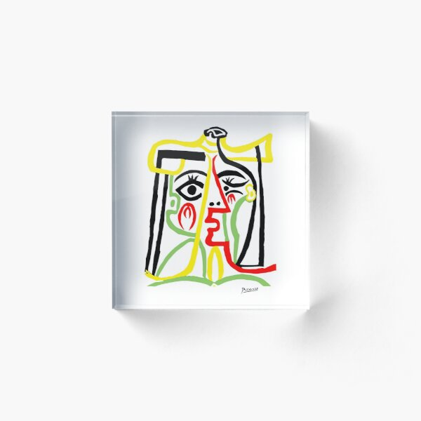 Pablo Picasso, Jacqueline with Straw Hat 1962, Artwork for Posters Prints Tshirts Women Men Kids Acrylic Block