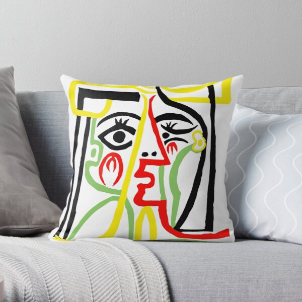 Pablo Picasso, Jacqueline with Straw Hat 1962, Artwork for Posters Prints Tshirts Women Men Kids Throw Pillow