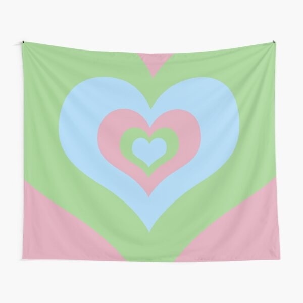 Radiating Hearts Pink, Blue, and Green Tapestry