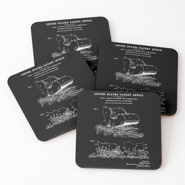 Roller Coaster Patent - Black Coasters (Set of 4)