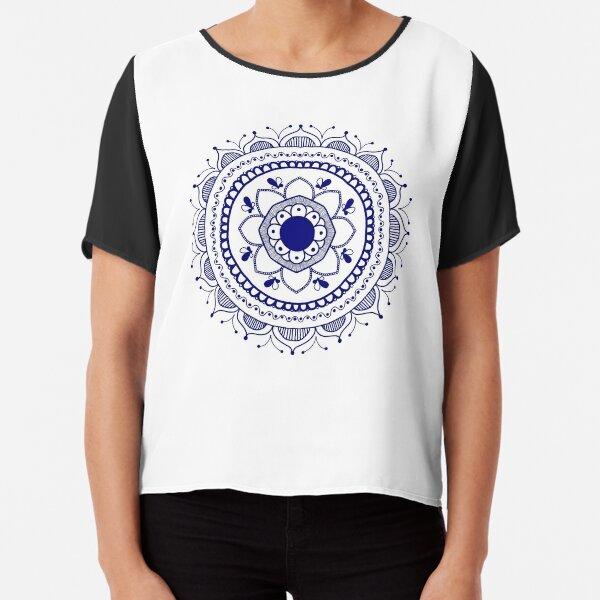 White and Blue Circular Mandala Chiffon Top