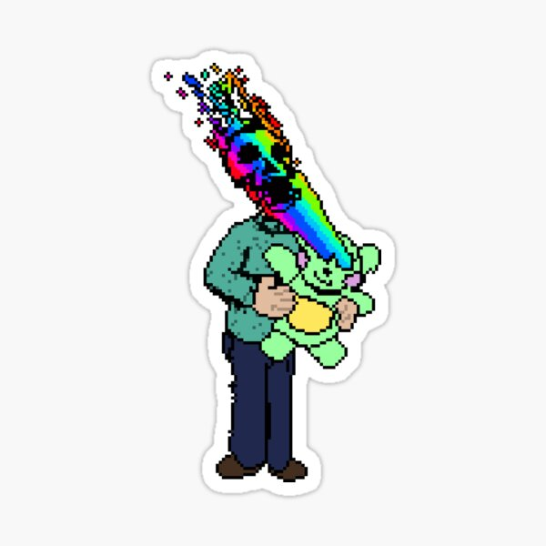 Pixel Death 1 - Teddy Rainbow Blast Sticker