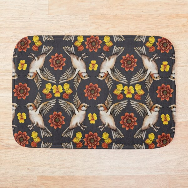 Autumn Sparrows with Flowers & Leaves Bath Mat