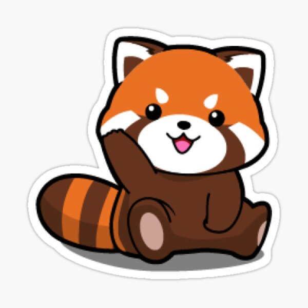 Red Cute Panda. Sticker