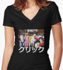Dipset x Evangelion x Clique Women's Fitted V-Neck T-Shirt