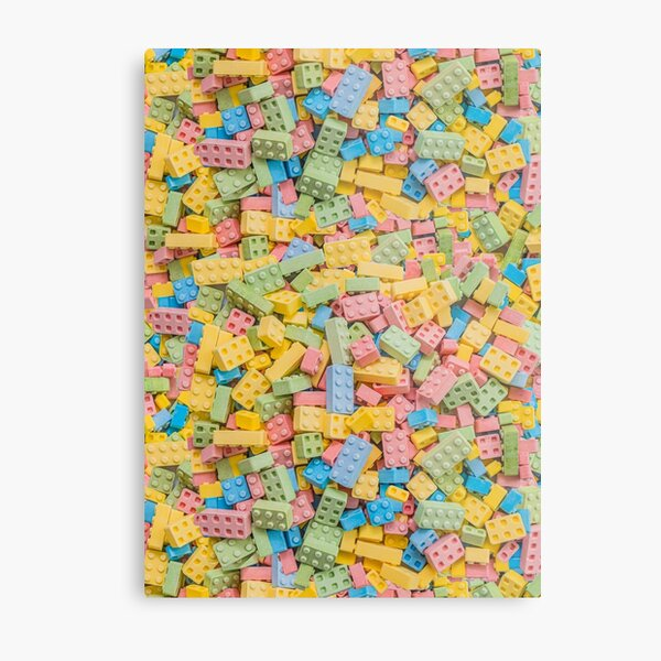 Candy Building Blocks, Multicolored Pastel Real Candy Pattern Metal Print