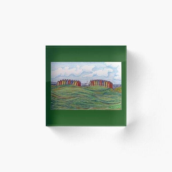 463 - BEACH CHALETS AT BLYTH - DAVE EDWARDS - COLOURED PENCILS - 2019 Acrylic Block