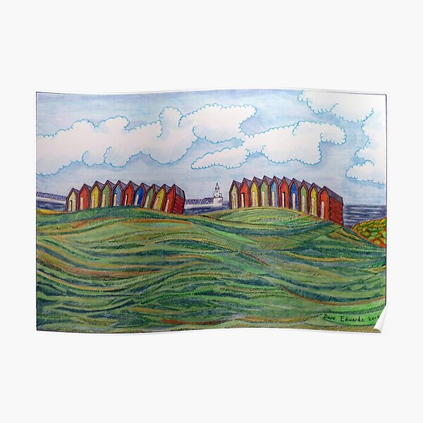 463 - BEACH CHALETS AT BLYTH - DAVE EDWARDS - COLOURED PENCILS - 2019 Poster