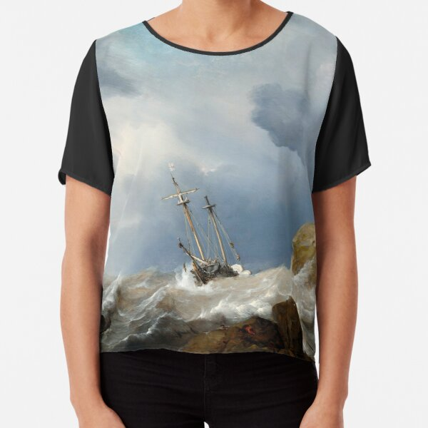 Willem van de Velde the Younger 1660 - Ships in a Gale Chiffon Top