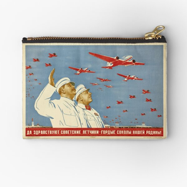 Long live the Soviet pilots - the proud falcons of our Motherland. Poster, Lithography, Paper, 1938 Zipper Pouch