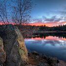 2 Rocks Enjoy a Sunset by Bob Larson