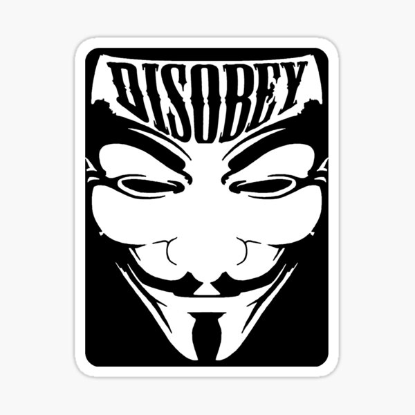 Anonymous Mask - Disobey Sticker