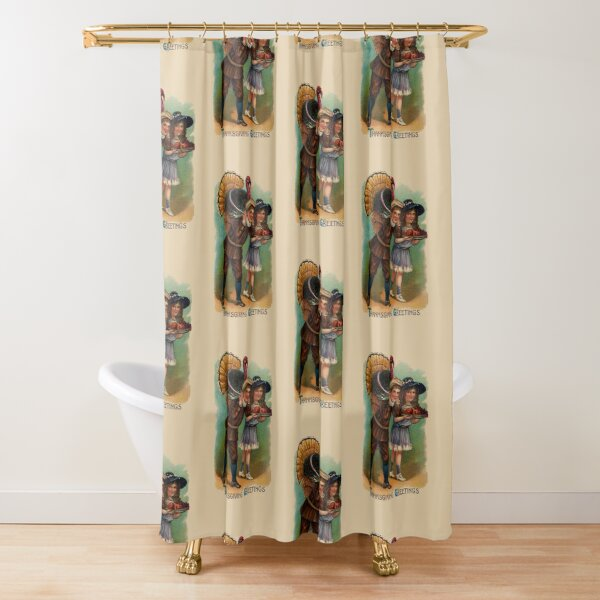 Vintage Thanksgiving Boy And Girl With Turkey Shower Curtain
