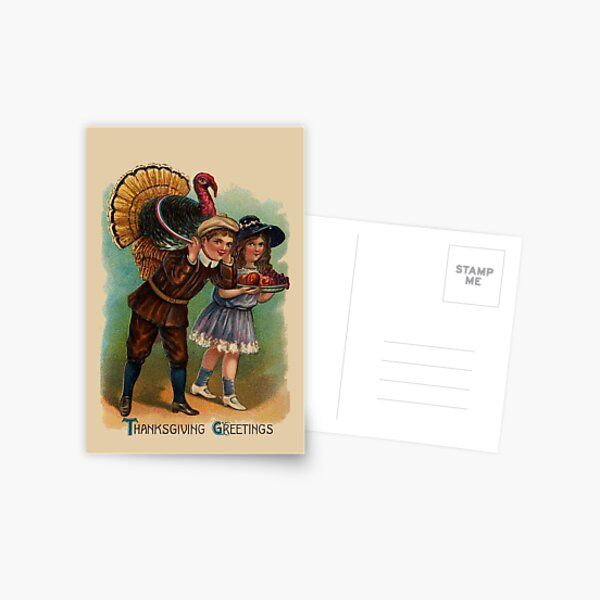 Vintage Thanksgiving Boy And Girl With Turkey Postcard