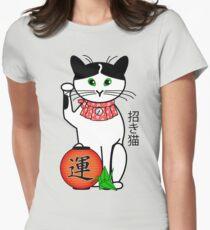 Maneki Neko (Japanese Lucky Cat) Peony T-Shirt