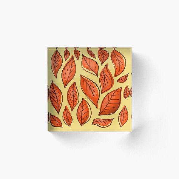Orange Autumn Leaves Acrylic Block