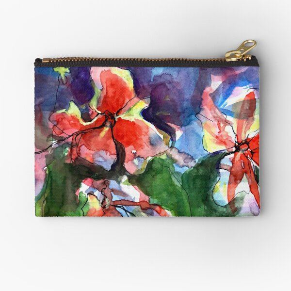 A Wave of Watercolour Flowers Zipper Pouch