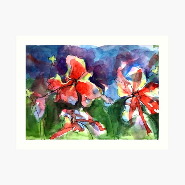 A Wave of Watercolour Flowers Art Print