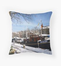 Snow covered Oude Haven, Vlaardingen Throw Pillow