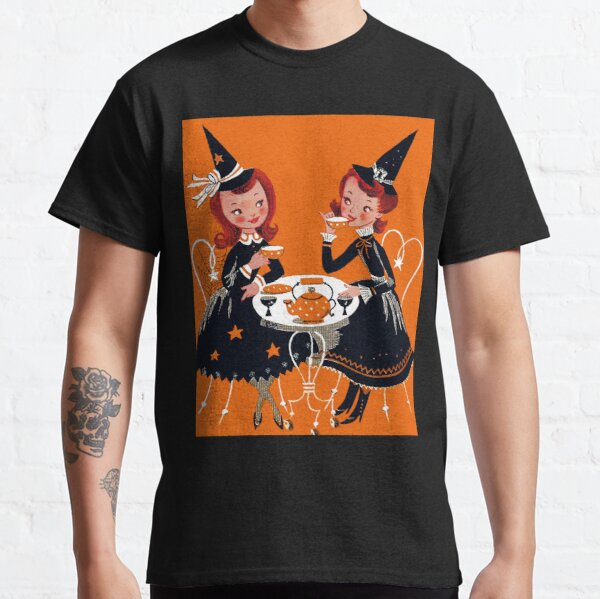 Vintage Halloween Witches Tea Gossip Kitschy Retro Gothic Goth 1950s Classic T-Shirt