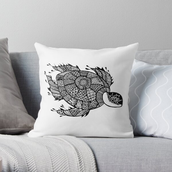 Turtle Black and White Doodle Art Throw Pillow