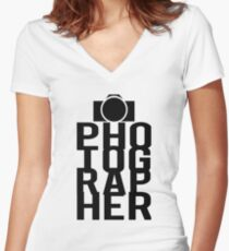 Camera Photographer Women's Fitted V-Neck T-Shirt