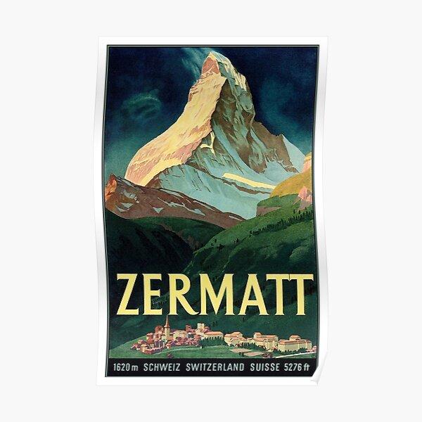 Vintage Switzerland Zermatt Travel 1933 Poster