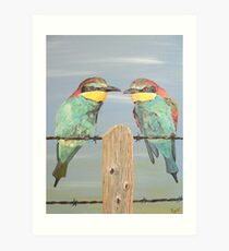 On The Wire, Bee-eaters Art Print