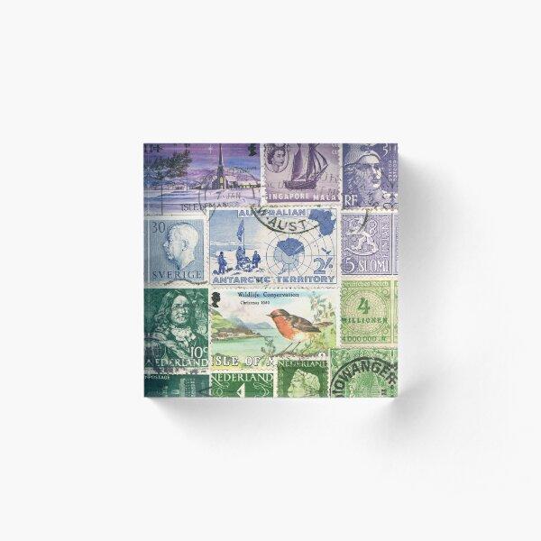 Winter Robin Postage Stamp Landscape Acrylic Block