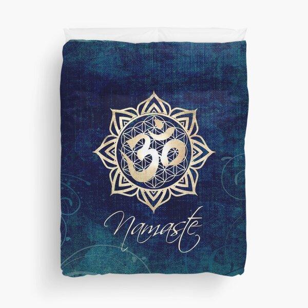 Namaste Lotus Flower of Life Mandala Duvet Cover