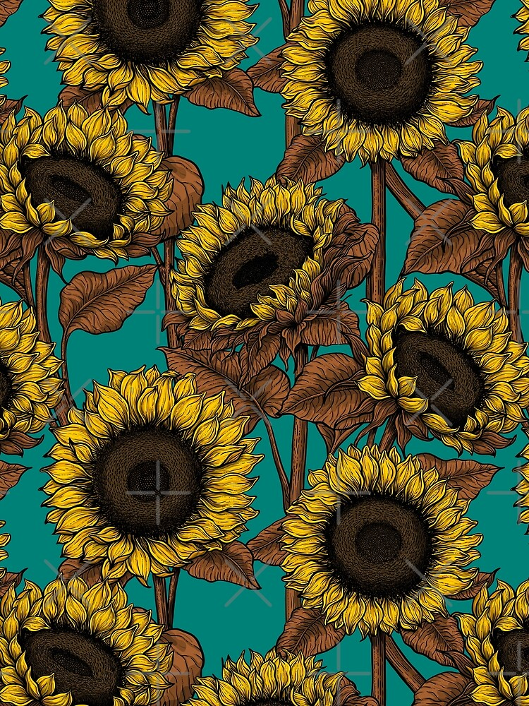 Sunflowers on turquoise by katerinamk