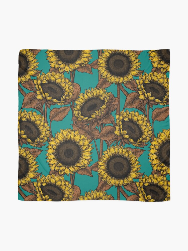 Alternate view of Sunflowers on turquoise Scarf