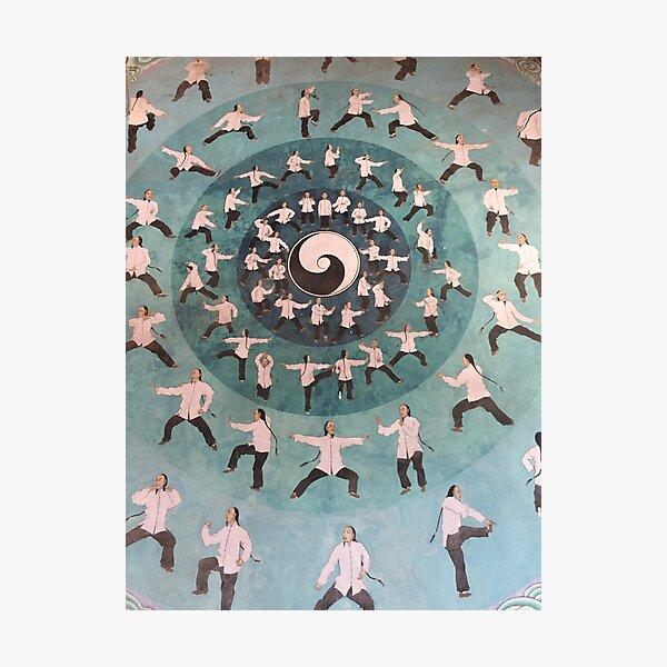 Painting of tai chi at Quanpu Hall, Chen Village, China Photographic Print