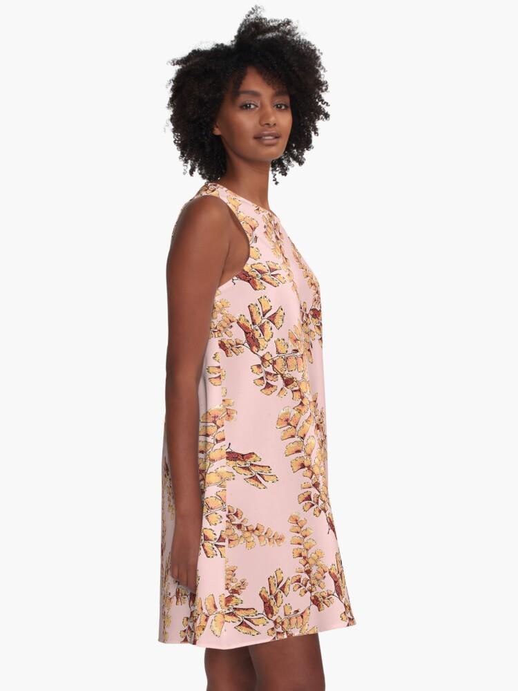 Alternative Ansicht von Goldene Blätter Muster A-Linien Kleid