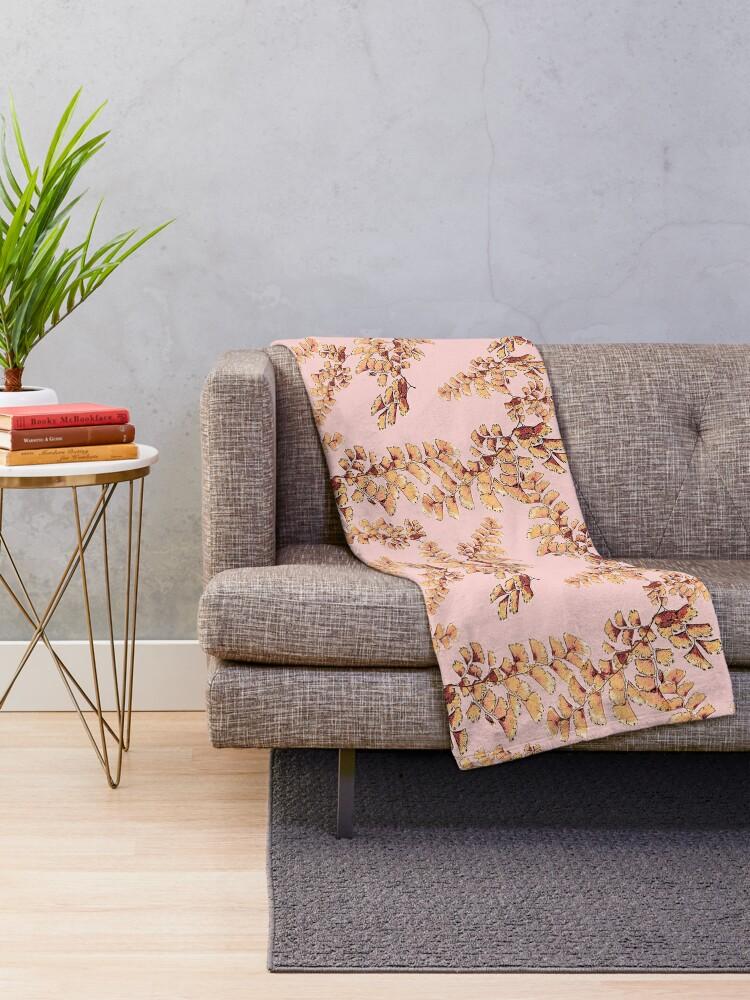 Alternative Ansicht von Goldene Blätter Muster Fleecedecke