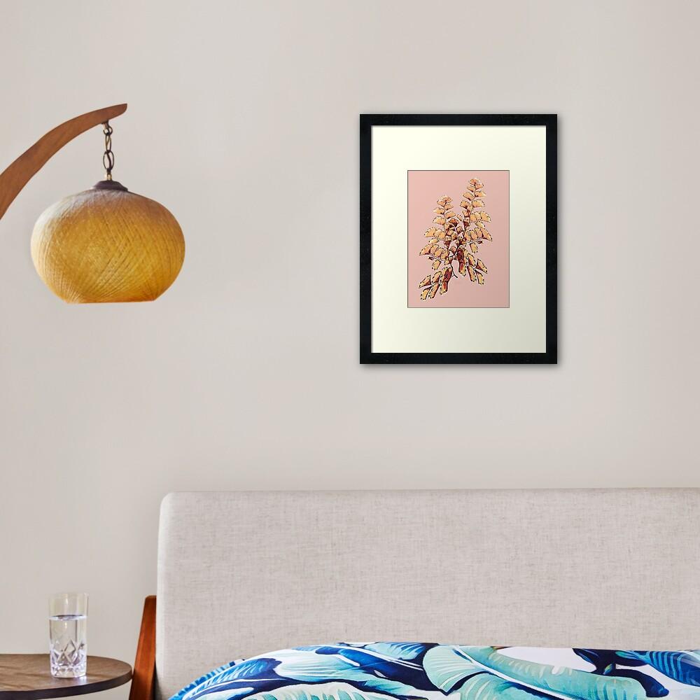 Goldene Blätter Muster Gerahmter Kunstdruck