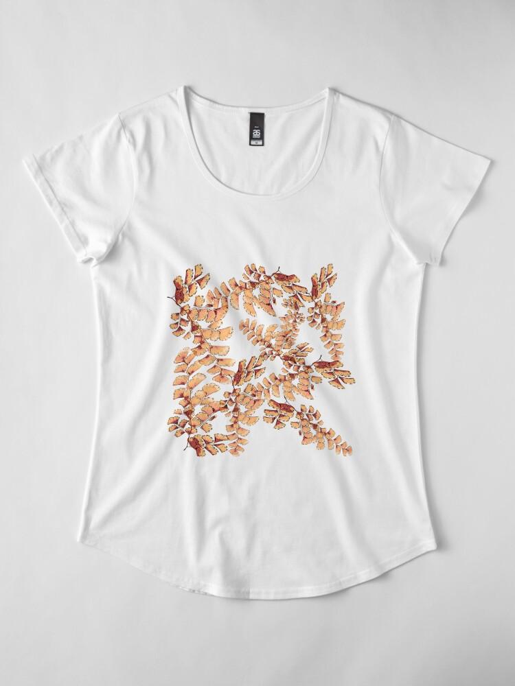 Alternative Ansicht von Goldene Blätter Muster Premium Rundhals-Shirt