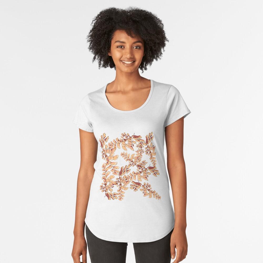 Goldene Blätter Muster Premium Rundhals-Shirt