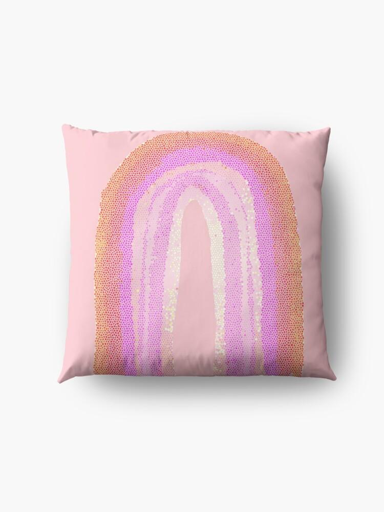 Alternative Ansicht von Regenbogen rosa pattern Bodenkissen