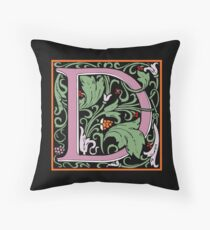 Letter D | A WILLIAM MORRIS ENGLISH CALIGRAPHY FONT Alphabet | Decorative initial A coloured Throw Pillow