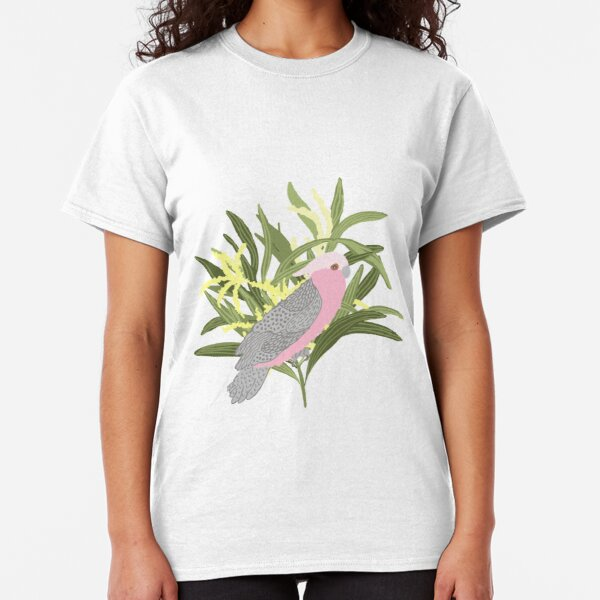 Pink Galah - Australian Wattle - Australiana decor - aussie fauna Classic T-Shirt