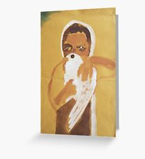 girl with dove Greeting Card