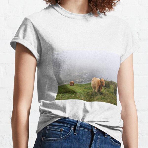 Highland cows on the misty coast of Islay, Scotland Classic T-Shirt