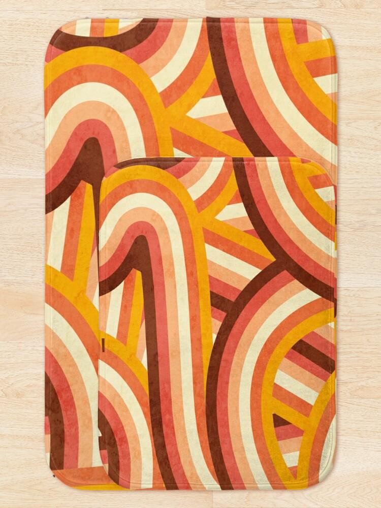 Alternate view of Vintage Orange 70's Style Rainbow Stripes Bath Mat