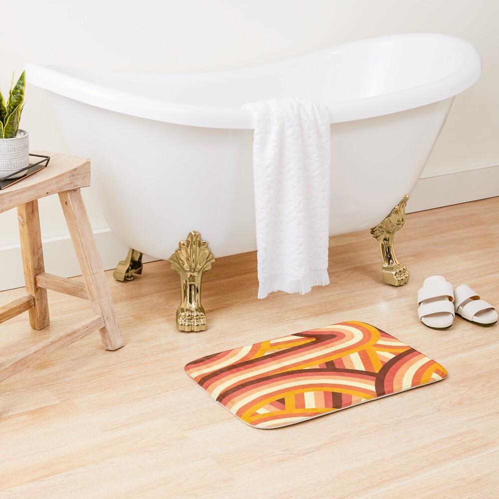 Vintage Orange 70's Style Rainbow Stripes Bath Mat