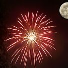 Fireworks and moon by jalewin